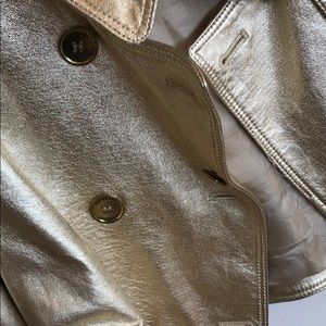 Burberry Jackets & Coats - burberry lambskin leather gold crop jacket